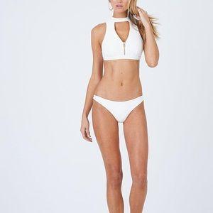 NWT Beach Bunny Zoey High neck bikini zip white